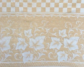 Vintage 1960s Pale Gold Cotton Damask Tablecloth Checkerboard Leaves Oblong 51x72 Farmhouse Cutter