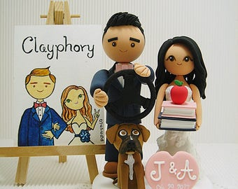 Teacher and car racer with dog  Custom wedding cake topper