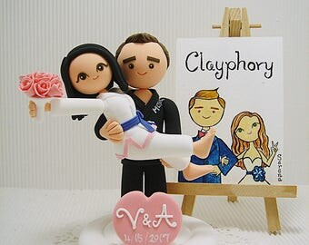 Jiu Jitsu couple Custom wedding cake topper
