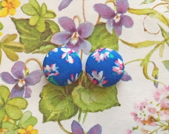 Blue Button Earrings / Fabric Covered / Wholesale Jewelry / Made in USA / Hypoallergenic Earrings / Jewellry Handmade / Stud Earrings