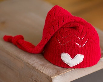Newborn Prop, Newborn Hat, Newborn Christmas Hat, Red Newborn Hat with Heart, Upcycled Newborn Hat, Newborn Knot Hat, Christmas Props, RTS