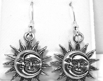 Pewter Sun and Moon Charms on Sterling Silver French Hook Dangle Earrings-0177