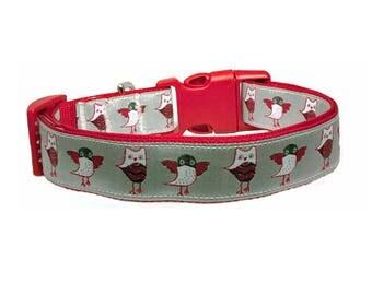 "Owls Dog Collar 1"" Red & Silver Gray Background Dog Collar"