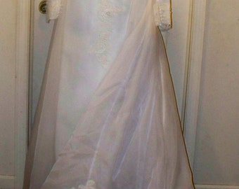 1960s Ivory Wedding Gown - Wedding Dress - An Original by Constantino - Empire Waist - Train - Very Sheer