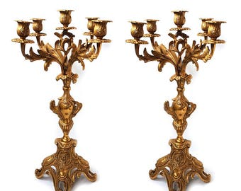 Pair of Large Bronze Candelabras for 5 candles,French antique mantel candlesticks,Pair 19th Century Rococo bronze 5 arms chandeliers.