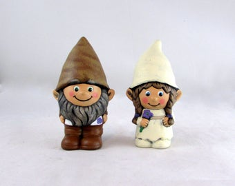 Custom Painted Gnome Cake Topper Set for Weddings, Ivory dress, brown suit - 5 inches, garden gnome, outdoor or indoor, wedding cake toppers