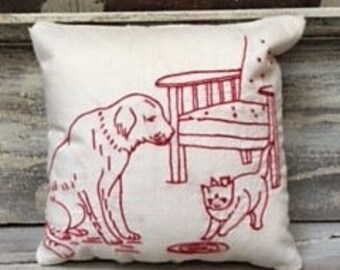 Cute Dog and Cat Embroidery Pillow With Quilt Backing