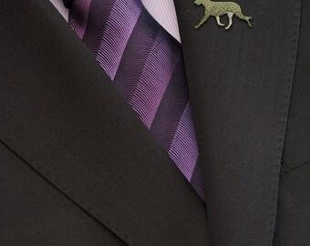 Irish Wolfhound movement brooch - gold.