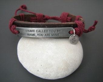 Bible verse Inspirational Bracelet, Isa. 43 1, I have called you by name, you are Mine, Christian Bracelet, Leather wrap bracelet