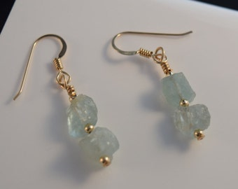 Natural Aquamarine Gold Dangle Earrings