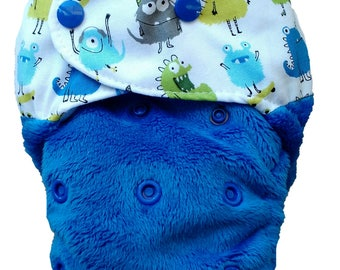 MONSTER MAZE - snap in one multi fit nappy