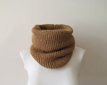 Hand Knitted Cowl in Camel, Brown Oversized Chunky Knit Cowl, Neckwarmer, Wool Blend, Made to Order