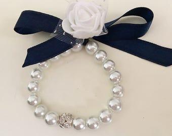 Stretch Pearl Ribbon Bracelet, Bow Pearl Bracelet, Flower Girl Bracelet, Baby Dedication Gift Bracelet,Baby Baptism Bracelet, Christening