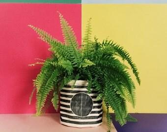 Circle + Stripe Planter Cozy // Linocut Design, Hand-Pressed on Soft Cotton Fabric // Modern Homewares, Decorative Planter Cozy