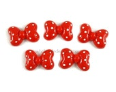 "Minnie Mouse Bow Inspired Resins - 5 Cabochons - Red White Polka Dot Bow - Flat Back Acrylic Embellishment 1 5/8"" - Mickey Mouse"