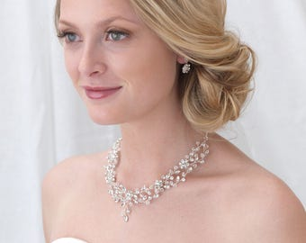 Floral Bridal Jewelry Set, Swarovski Crystal Jewelry Set, Rhinestone Jewelry Set, Jewelry for Bride, Wedding Jewelry Set, Bride ~JS-1665