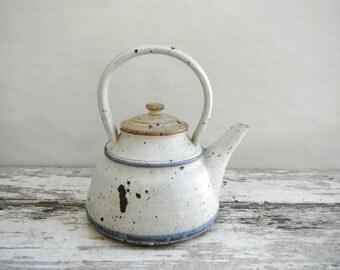 Vintage Wheel-Made Ceramic Blue and White Tea Pot