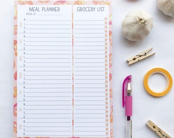 A5 Kiwis Oranges Meal Planner and Grocery List Notepad Planner Insert Stationery