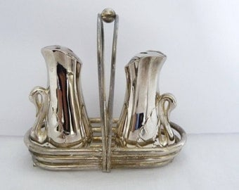 Silver Swan Salt and Pepper Shakers, On A Silver Carrier, Or Caddy