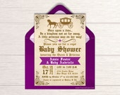 Once Upon A Time Baby Shower Invitation - Printable Fairytale Shower Invite - Royal Princess Shower - Purple Baby Girl Shower Package - BS12