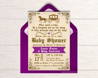 Once Upon A Time Baby Shower Invitation   Printable Fairytale Shower Invite    Royal Princess Shower