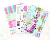June Monthly View Summer Planner Sticker Kit, Vinyl Stickers, Beach Day, Hawaii Vacation, Floral, Erin Condren Sized