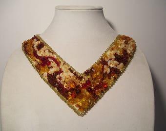 Red Gold Brown Free Form Beadwork V-Neck Necklace Collar Choker Bib
