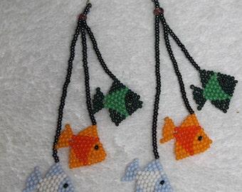 Huichol Beaded Fish Earrings BB-3
