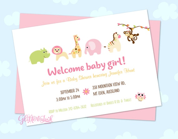 Jungle safari animal zoo baby girl baby shower invitation il570xn filmwisefo