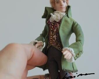 Mozart in Green Jacket, Miniature Art Doll by Taru Astikainen