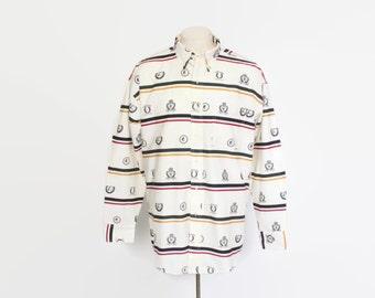 Vintage 90s RALPH LAUREN Shirt / 1990s Chaps Striped Insignia Crest Button Up L