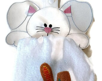 bunny kitchen towel holder, towel topper