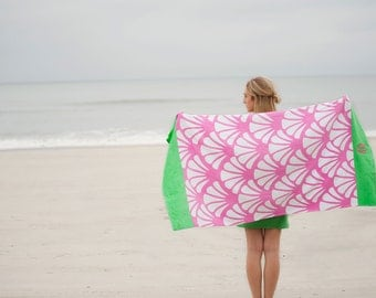 Shelly Hot Pink and Green Shell Design Beach Towel - May be Monogrammed - Pool or Bath Towel - Seashells, Scallop