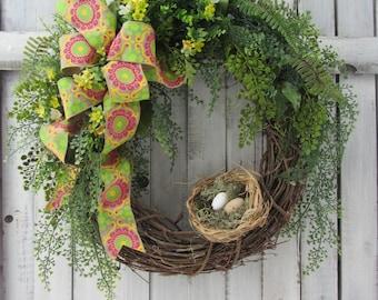 Mothers Day Wreath,  Spring/Summer Wreath, Birdnest Wreath, Wreath for the Door, Boxwood Wreath, Year Round Wreath