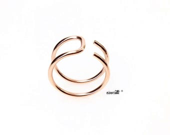 The Edge Asymmetric Ring / Sterling Silver Thumb Ring / 14k Gold Filled Knuckle Ring / Rose Gold Midi Ring / Adjustable Horseshoe Ring Gift