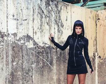 Pyramid Priestess Hoody - Black hoody - Leather hoody - Festival hoody
