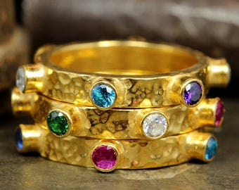 Eternity Ring Set of Three Hammered Multicolor 24K Yellow Gold over 925 Sterling Silver Colorful Cubic Zirconia Designer Stacking Rings Set