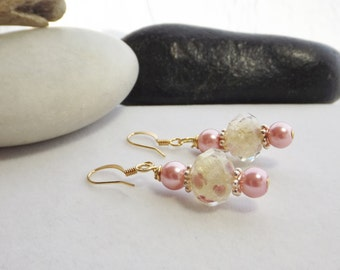 Drop, Dangle, Pink, Cream, and Gold Beaded Glass Earrings with Jesse James Lampwork Beads for Summer, Spring, Weddings, Mother's Day, Easter