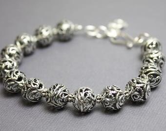 Sterling Silver Filigree Bracelet,  Sterling Silver Bracelet, Silver Beaded Bracelets, Silver Bracelet, Sterling Bracelet, Kathy Bankston