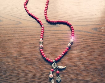 Red buddha charm necklace
