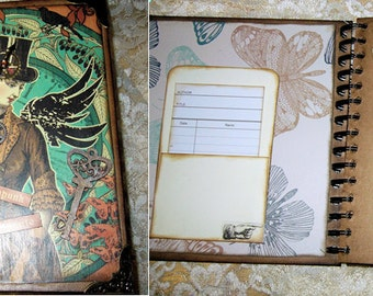 Steampunk Debutante, a hand altered Junk Journal, Journal, Smash Book, Mini Album on a Steampunk theme.