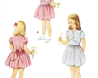 McCall 7279 Girls' Vintage 1940s Fauxlero Dress with Sleeve Options Sewing Pattern