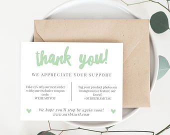 INSTANT Business Thank You Cards, Editable PDF Printable Packaging Inserts for Online Shops, Etsy Sellers | Mint Branding, Adelie | Download