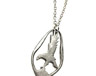 Vintage pendant necklace pewter eagle hawk bird of prey silver chain steel goth steampunk dieselpunk recycled