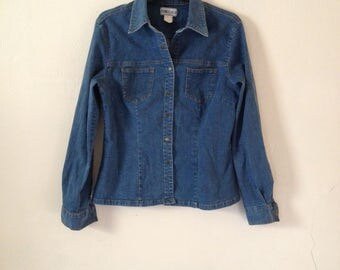 Vintage 1980's Denim Shirt Jacket Blue Mid Wash Fitted Slim Western Blogger Small
