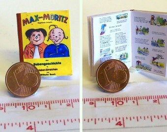 "1006# German Childrens Book ""Max und Moritz"" - Doll house miniature in scale 1/12"