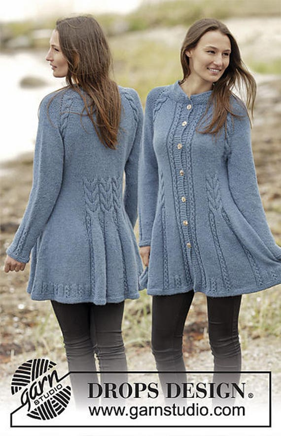 Knitting Pattern For Fitted Jacket : Hand knitted fitted jacket cardigan with cables for ladies