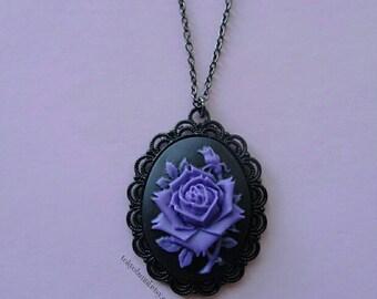 Purple Rose Cameo Necklace- Kawaii- Gothic- Pastel Goth- Gothic Lolita- Sweet Lolita-JFashion- Harajuku- Fairy Kei- Creepy Cute