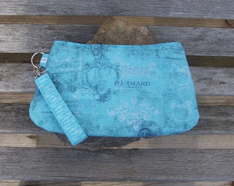 French Graphic Wristlet - Clutch Handbag Purse - Aqua French Victorian Paris - Swoon Coraline