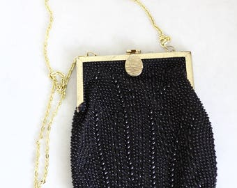 1970s plastic beaded purse // vintage evening purse // vintage beaded purse